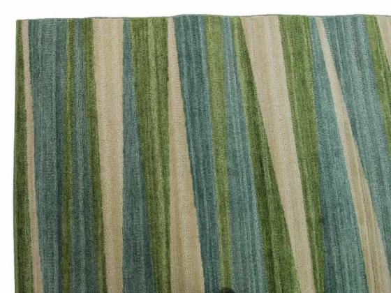 Sky Blue And Green Striped Rug main image
