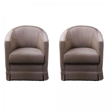 Tan Fabric Barrel Chairs (2) main image