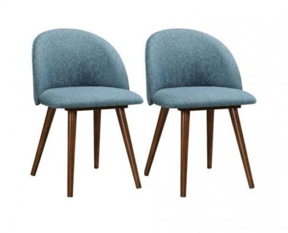 2 Aqua Dining Chairs - Walnut Legs main image