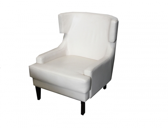 White Leather Club Chair main image