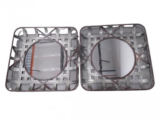 2 Galvanized Steel Framed Round Mirror main image