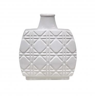 White Ceramic Geometric Inset Design Vase  main image