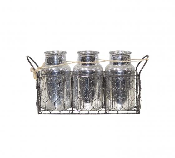 Chicken Wire Basket with 3 Silver Glass Jars insid main image