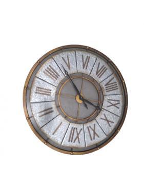 Galvanized Clock w/ Black Roman Numerals main image