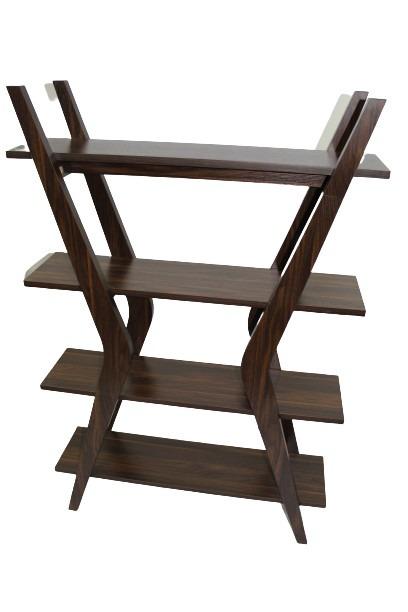 Mid-Century Wood Bookshelf w/ Four Tiers main image