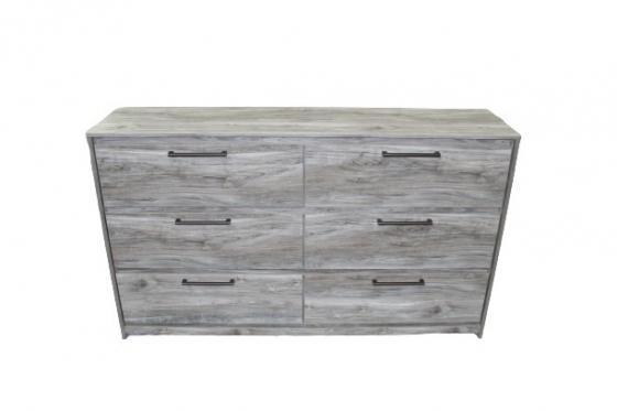 Grey Six-Drawer Wood Dresser main image