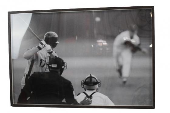 Wood Framed Black & White Baseball Photo main image