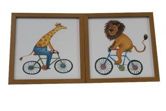 Two Wood Framed Lion and Giraffe on Bike main image