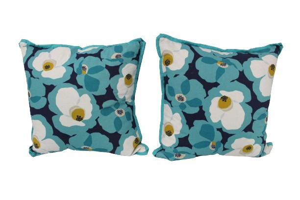 Two Aqua Floral Pillows main image