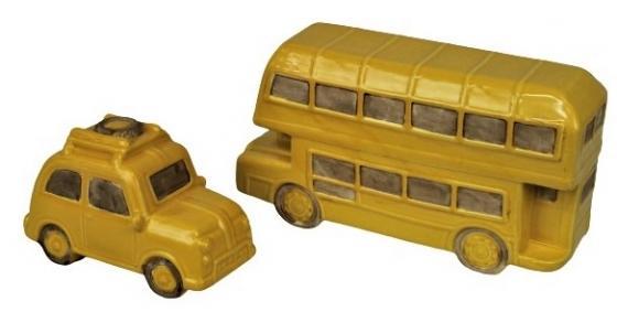 Two Yellow Ceramic Bus & Car main image