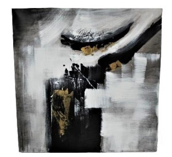 Two Black/White/Gold & Grey Canvas Art Set main image