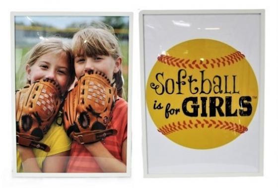 Two White Framed Girls Softball Art main image