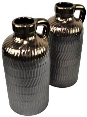 Two Bronze & Pewter Glass Jugs/ Vases main image