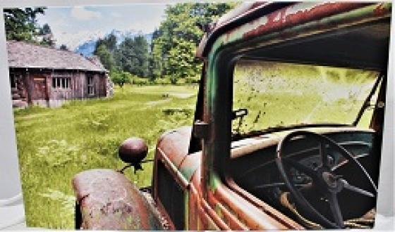 Canvas Old Farm Truck Near Cabin main image