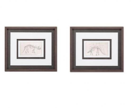 Set of 2 Pen & Ink Dinosaurs on Canvas in Wood Fra main image