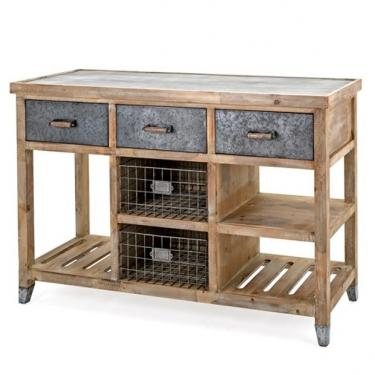 Wood With Galvanized Steel Top Console  main image