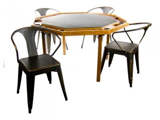 Poker Table w/ 4 Gun Metal Chairs main image