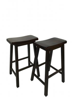 Two Brown Saddle Seat Bar Stools main image