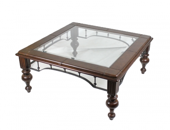 Leather & Glass Accent Table main image