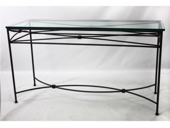 Wrought Iron Glass Top Sofa Table main image