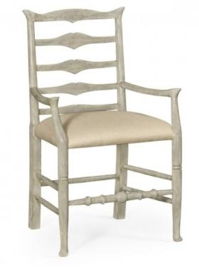 Rustic Grey Ladder Back Armchair main image