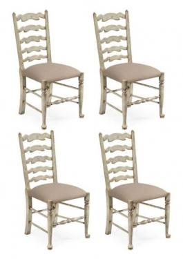 Set of 4 Grey Painted Ladder Back Chairs main image