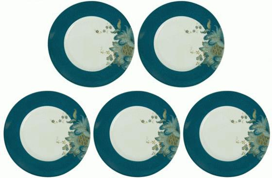 Five Teal Rimmed Flower Plates main image
