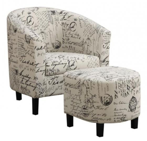 French Script Chair and Ottoman main image