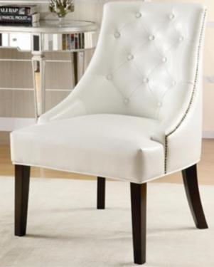 White Leather Accent Chair main image