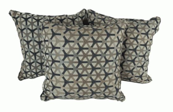 Charcoal and Tan Patterned Pillows main image