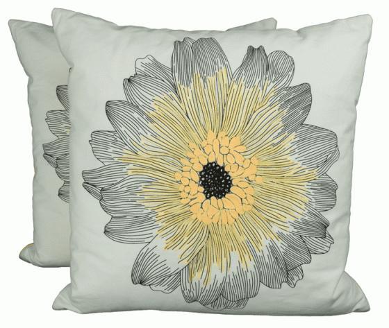 Yellow/Black Flower Pillow main image