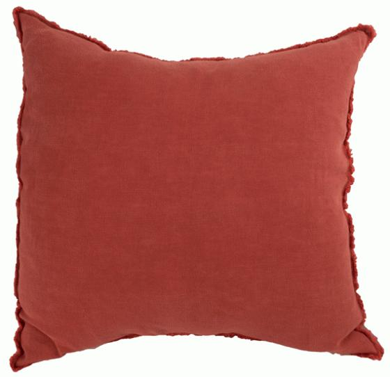 Red Linen Pillow with Frayed Edge main image