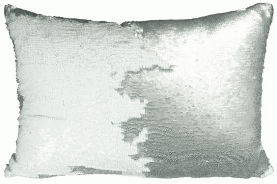 Silver and White Sequin Pillow main image