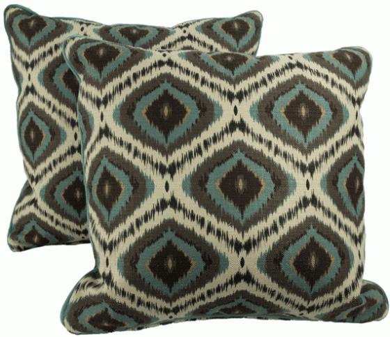 Teal and Brown Diamond Patterned Pillows main image