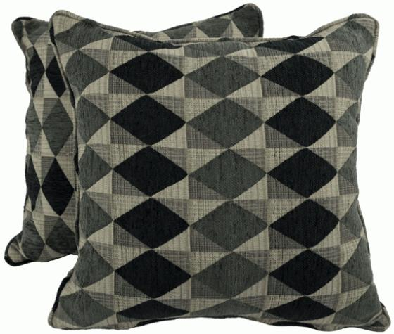 Grey and Black Diamond Patterned Pillows main image