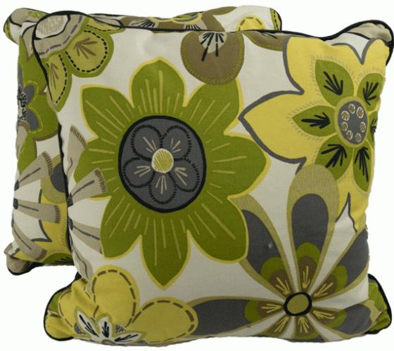 Green and Yellow Flower Pillows main image
