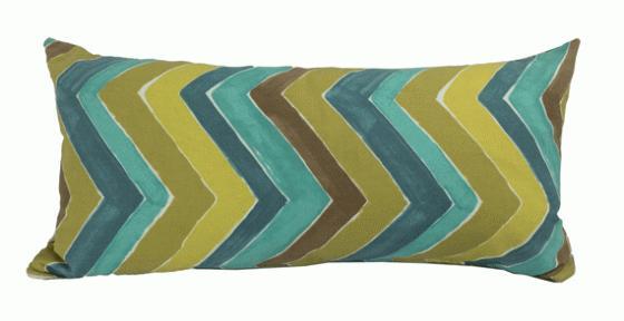Green and Blue Chevron Lumbar Pillow main image