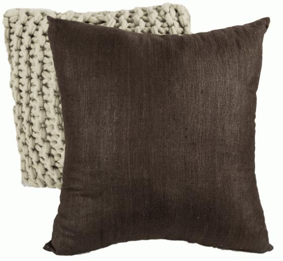 Knit Taupe Pillow and Brown Linen Pillow main image
