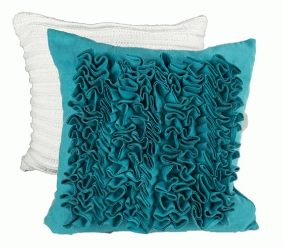White Textured Pillow and Teal Ruffle Pillow main image