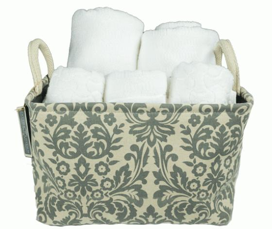 Gray and Tan Floral Pattern Basket With Towels  main image