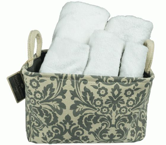 Gray and Tan Floral Pattern Baskets with towels main image