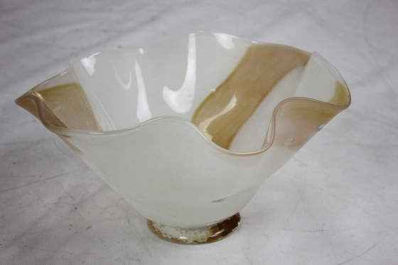 Gold and White Hand Blown Glass Fluted Bowl main image