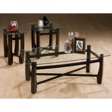 Set of 3 Glass Top Tables main image