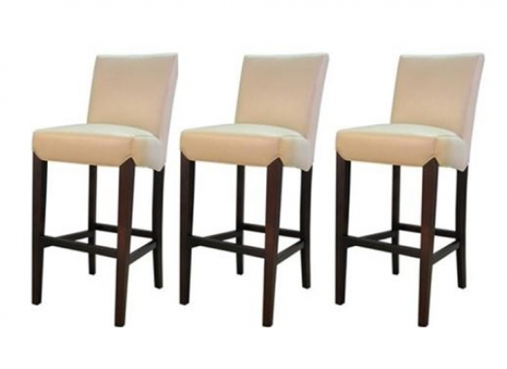 Counter Height-Cream Leather Stools(3) main image