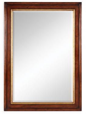 Plain Walnut Rectangular Mirror with Gilt Inset main image