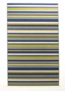 4.3' X 6.75' Blue and Green Stripped Rug: Member C main image