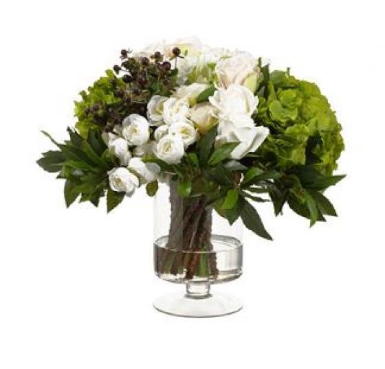 Ranunculus/Rose in Vase Blush main image