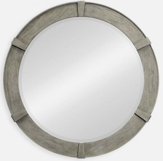 Rustic grey round mirror main image