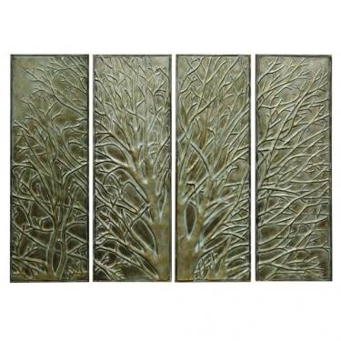 Set of Four Metal Wall Tree Art Panels main image