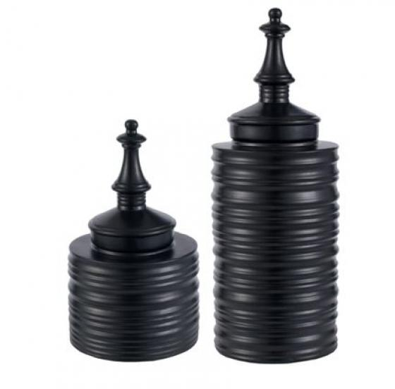 Black Ceramic Jar Set main image